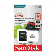Карта памяти micro SDHC 32Gb SanDisk; Class 10; UHS-I 48MB/s Ultra; With SD-adapter (SDSQUNR-032G-GN3MA)