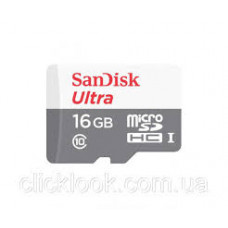 Карта памяти micro SDHC 16Gb SanDisk Ultra (SDSQUNS-016G-GN3MN); Class 10