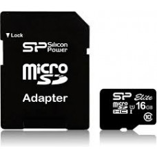 Карта памяти micro SDHC 16Gb SiliconPower Elite (SP016GBSTHBU1V10SP); Class 10; SD-adapter
