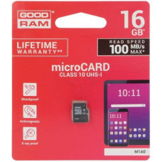 Карта памяти micro SDHC 16Gb GoodRAM; Class 10 UHS-I; No adapter (M1A0-0160R12)