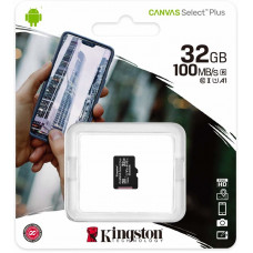 Карта памяти micro SDHC 32GB Kingston Canvas Select Plus Class 10 UHS-I U1 V10 A1 (SDCS2/32GBSP)
